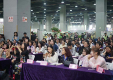 Large audience for the demonstrations at the Guangzhou Intl Flower Arrangement Show.
