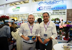 "Andres Proano and Gonzalo Luzuriaga of BellaRosa and Rose Connection presenting their natural, tinted and preserved flowers. They are supplying the Chinese market for about 6 years now and according to Gonzalo, the tinted roses are the most demanded. ""We started tinting roses 12 years ago, so we have good experience. On top of that, we have good relationships with our customers and they tell us what kind of colors they want."" Gonzalo is pleased with the current number of customers they supply and he still see a lot of potential to grow."