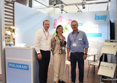 "Christian Schrder and Dirk Mhlenweg of Knauf with Anouk Sijmonsma of PMA. According to Dirk, it is a challenging market as perlite is cheaper than peat moss. What makes them different from the local produced perlite is that their quality is always the same. ""We take out the dust and use it for gypsum wall."" All over the world, they see an increase in demand for perlite."