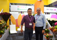 Arcadio Marinez and Eli Perez of Rosamina. Their main crop is the protea, which they grow in the open fields. They started 30 years ago with growing roses and 15 years ago, they shifted to protea and other types like Leucadendron and pink cushion , who they can supply in both, bulk and bouquets. They see an increasing demand for these type of flowers and due to the Colombian climate they can supply their flowers 52 weeks a year.