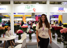 Paula Sanchez of Ponte Tresa. They are exhibiting in China for the first time. The grow roses in 3 farms in Ecuador and they are at the show to look for opportunities to export them to China. Currently, their main markets are the US and Switzerland.