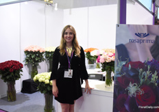 Maria Jose Vascinez of Rosaprima, one of Ecuadorians largest rose farms. They are present at the Hortiflorexpo IPM in China for the first time to meet their current and new clients.