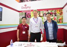 Eric Bai and Gerjo Engbers of Delphy with a visitor.