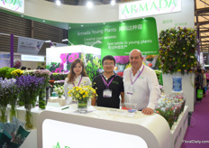 Ida Zhang, Savio Ma and Gerard Lentjes of Armada. Last year, they established Armada China in Shanghai and they are now for the first time exhibiting with their company at the Hortiflorexpo.
