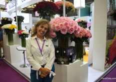 Catalina Urdaneta of Attar Roses at the Pro Ecuador booth is looking for opportunities to supply her roses to the Chinese market.