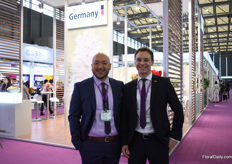 Lei Zhang and Torben Brinkmann of IPM Essen in front of the German pavilion.