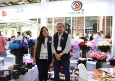 Lina Velez and Sergio Illescas of Naranjo. They are eager to increase the exports of their fresh, tinted and preserved roses to China. Besides preserved rose heads, they also supply preserved rose stems.