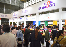 Busy at the booths of the South American growers.