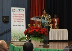 Esther Kimai of Kephis at the opening ceremony stressing the improtance of phytosanitary regulations.