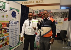 "Henry Wanjala of Cosmocel, a Mexican plant nutrition farm, and Steve Wanjala of Ocean Agriculture who is the distributor in Kenya. They are at the show for the first time and they are lauching Trazex an calcium, borom mix. There is a lack of borom in Kenya and ensures the uptake of calcium, which in turn results in a better vaselife of the flower"", they explain."