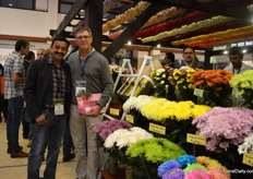 Mane Apaso of Fontana with Kees Gram of Royal Van Zanten, who was visiting the show. Fontana grows several of the chrysanthemum varieties of Royal Van Zanten.