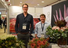 Noud Visscher and Feddie Kirsten of FreshCap. They grow 300 Capevarieties in South Africa and their main product is the protea. All their varieties are grown on a total acreage of 60 ha and supplied all over the world.