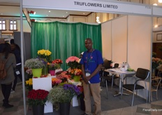 Cacha Mwita of Truflowers Limited. This consolidating company was established in 2016 and is attending the IFTEX for the first time.