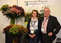 Brigitta Verlinden and Frans Diedens of Yalokeh Flowers. They grow hypericum at their farm in Ethiopia. They were presenting their some of their varieities at the booth of EHPEA.