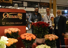 Taghau Rai of Omar Amor, Pini Cohen of Decofresh and Inder Nain of Omar and Amor presenting the two awards they won, golden award in the category best stand perishables and silver in the category best standard rose.