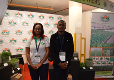 Beverlyne Amboka and Ian Keyeli of Arvilan Growers. These Kenyan herb growers are exhibiting at the IFTEX for the second time. The herbs they grow indoors and outdoors on 5 ha are mainly exported to Europe and the Middle East.