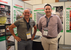 Alain Legot of Intermas Group, visiting the booth of Agrypolyane, which is among others represented by Thomas Thizy.