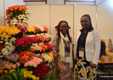 Manicab Kagicha and Florence Didy of Harvest Limited, who grow roses on 22ha.