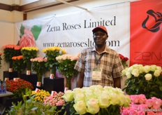 William Murgor of Zena Roses. Their main crop is roses and spray roses, but they also started to grow gypsophillas and baby blues. This enables them tomake bouquets at the farm.
