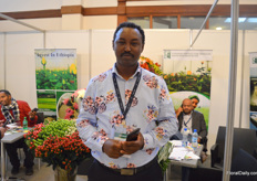 Tewodros Zewdie of Ethiopian Horticulture Producers Exporters Association EHPEA. As usual, they brought some Ethiopian farms to display some of their products in their booth.
