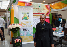 Anne Mbuthia of Aurum Roses. They grow intermediate roses in Uganda on 10ha.