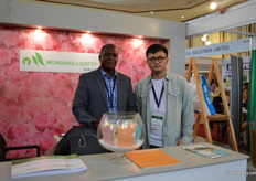 Joshua Ochiel and Will Li of joint venture Monband-Livtty. These two fertilizer suppliers (Livatty is a Kenyan company, adn Monband a Chinese) joined forces about two years ago and established this joined venture.