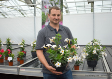 Cris Oostveen with the Bloom White from their Mandevilla Bloom Bells line. This is the first white one in their Bloom Bells line.