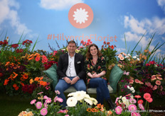 Co Overduijn and Saskia Bakker together on the couch. In the future they will work together when Hilverdakooij en Florist Holland are fused together.