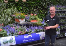 Remco Wertwijn of Florensis with Salvia Misty. This salvia variety was introduced last year. This variety is growing naturally compact and uniform and is one of the bluest salvia's on the market. For the consumer, it flowers all summer long till frost.