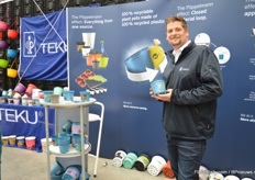 Also German pot and tray manufacturer Pöppellman Teku was present at this location, presenting their 100% recyclable plant pots made of 100% recycled plastic.