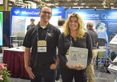 Paul Jaeger and Daphne Brogdon with Micro Grow Systems, showing their MicroCool solutions and sharing insights on creating the best climate in various crops.