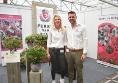 Amber van Zonneveld and Perry van Eijk of Perry van Eijk Skimmias. Since January 1st, he succeeded the company from his father. At the show, he puts the spotlight on the new variety Skimmia Japonica Perosa, a sport out of Skimmia Rubella-familie.