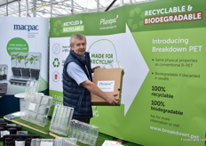Neil Greenhalgh Macpac presenting the Breakdown PET, a recyclable PET yet also providing an end-of-life solution should it be required when discarded in landfill – accelerated bio-degradation acting within a decade rather than centuries. It is supplied in a cardbord box.