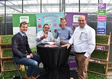 Gael, Ludo and Maxim DEcock of Decock with Ton de Bresser of Selecta one, who was visiting their booth.