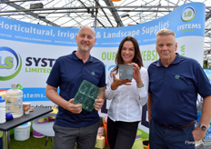 John Crinall, Sandra Robinson and Nigel Croby of LS Systems, a distributor of several products, including the PET packaging of Modiform that Crinall is holding.