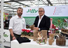 Stephen Godfrey and Robert Strongward of Jiffy presenting their Biodegradable pots for which they received a lot of interest.