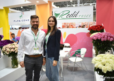 Nicolas Montenegro Aremas of Redil Roses with interpreter Anna. They grow roses on 30ha and spray roses on 6ha and they are trying to recover in Russia. USA is and always has been there main market, but Russia remains important and Montenegro sees potential to grow.