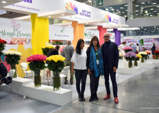 Carmen Lucia Marquez Hernandez of Ball, Cristina Uricoechea of Asocolflores and Designer Pieter Landman in front of the Colombian Pavilion. Next month, Proflora will be held in Bogota, Colombia (Oct 2-3), organized by Asocoflores.