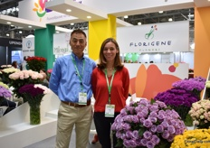 Masashi Matsumura of Suntory Flowers and Monica Useche of Florigene, the Colombian farm where Suntory's carnations and Applause are being grown. They are presenting Applause for the first time at the FlowersExpo.