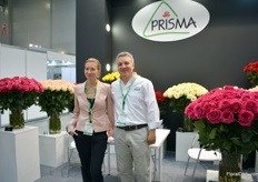 Ekatarina Marino (interpreter) and Eduard Guillio of Prisma. They are eager to grow exports in this market.