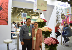 "Federico Santa Cruz and Sofia CHandi of Everbloom. For this Ecuadorian farm, Russia is their main market and as the demand increased, they recently expanded their farm by 5ha, to 28ha. ""We are here to to get answers on what varieties to grow."""