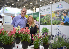 Eyal Inbar and Rima Ben David of Hishtil at the booth of Podere Luen, the company that represents Hishtil in Italy. They root the cuttings of Hishtil and sell them, also to Russia.