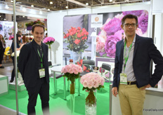 Gleb Demin and Damien Cabaret of Meilland presenting their cut roses as well as their latest pot rose introduction Zepeti Meibenbino (pictured on the booth's wall). In June, during the FlowerTrials, they've introduced this variety in the Netherlands at MNP Flowers and are now showing it at the FlowersExpo for the first time.