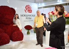 The huge teddy bear made out of roses at the booth of Russian rose grower Mokshan Roses, drew the attention of many visitors.