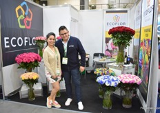 Madel Ronquilo and Roberto Espin of Ecoflor. This Chile-Ecuadorian company bought this Ecuadorian farm, with 30 years of experience in growing roses, last February and named it Ecoflor. They grow roses on 14ha and have 11ha in production.