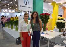 Tamara Diaz and Liliana Vargas of Kuehne + Nagel Ecuador at their booth at the Colombian pavillion. According to Dia, it has been a challenging summer as the demand for flowers in Russia - due to the hot weather - was low.