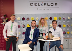 The two salesman of Deliflor at the left and the right; Rob Storm en Jeroen Steenbergen and in the middle the translators Nick Babykov and Daria Kruglova.