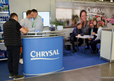 Everybody at the booth of Chrysal was busy.