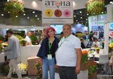 Andrew Reznik together with his daughter Irina, who joined her father on the expo to promote Atena. Atena is a well known tulip grower in Russia, which produces over 12 milion tulips every year.