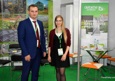 Andrey Darrydenko and Maria Mkhailiukova of Deforche Construct promoted their foil greenhouses and glass greenhouses.